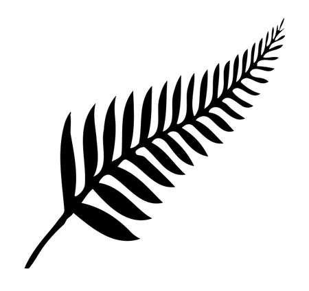 Silhouette of a silver fern, a national emblem of New Zealand over a white background