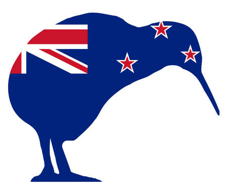 New Zealand flag below the outline of the kiwi