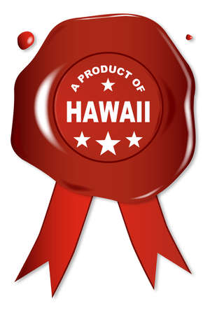 stamper: A wax seal with a the text A Product of Hawaii