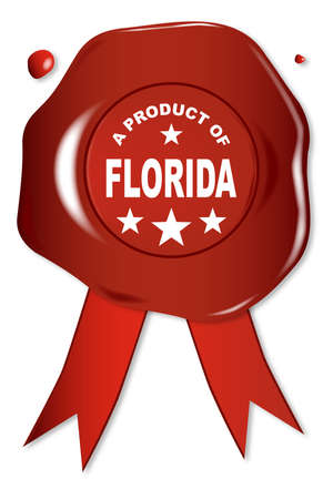 seal stamper: A wax seal with a the text A Product of Florida