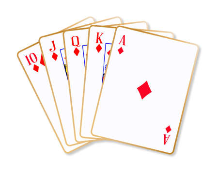knave: Playing cards making a ace diamonds flush over a white background Illustration