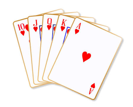 jack of hearts: Playing cards making a ace hearts flush over a white background Illustration