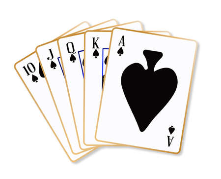 knave: Playing cards making a ace spades flush over a white background