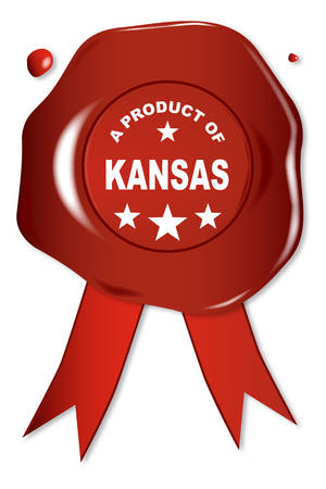 seal stamper: A wax seal with a the text A Product of Kansas Illustration