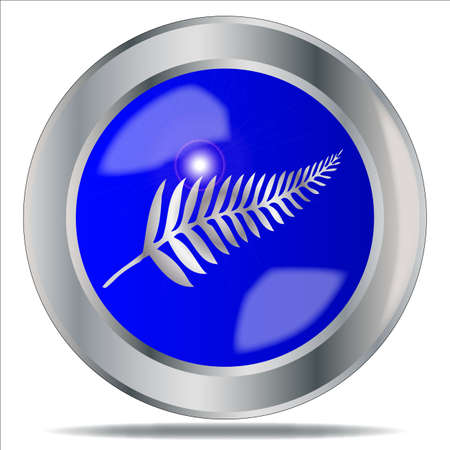 silver fern: A large Silver Fern of New Zealand button over a white background