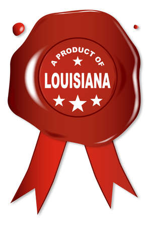 stamper: A wax seal with a the text A Product of Louisiana
