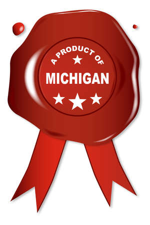seal stamper: A wax seal with a the text A Product of Michigan