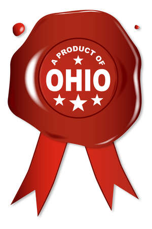 seal stamper: A wax seal with a the text A Product of Ohio