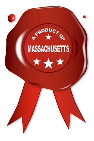 stamper: A wax seal with a the text A Product Of Massachusetts