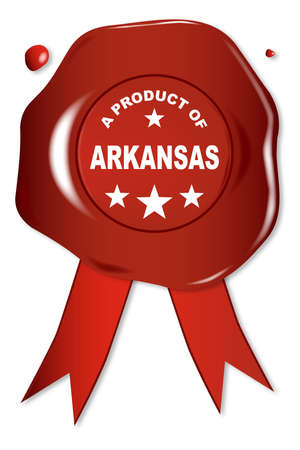 seal stamper: A wax seal with a the text A Product Of Arkansas