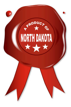 seal stamper: A wax seal with a the text A Product Of North Dakota Illustration