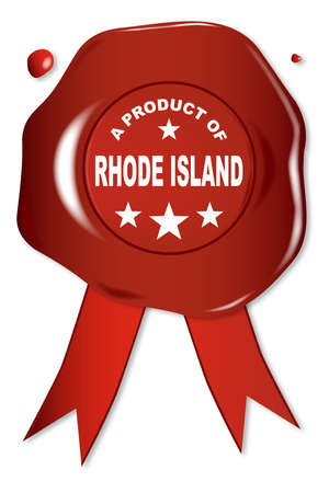 stamper: A wax seal with a the text A Product Of Rhode Island