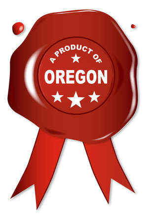 seal stamper: A wax seal with a the text A Product Of Oregon