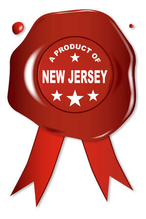 seal stamper: A wax seal with a the text A Product Of New Jersey