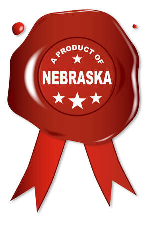 seal stamper: A wax seal with a the text A Product Of Nebraska