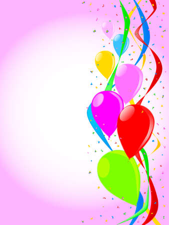 streamers: Multi coloured balloons, confetti and streamers, a party image.