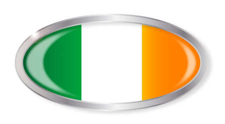 eire: Oval silver button with the Irish flag isolated on a white background
