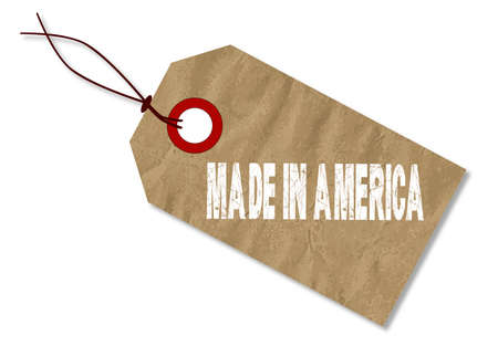crease: A brown Paper Made In Amrica Tag