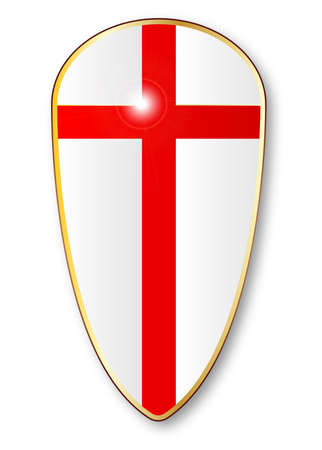 crusades: The traditional shield associated with a crusader isolated on a white background