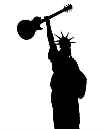The Statue of Liberty holding high an electric guitar