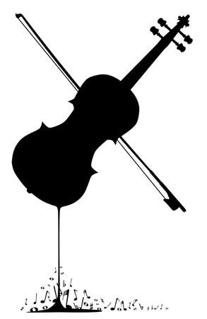 fiddle: A fiddle melting down with musical notes spashing around at the base.
