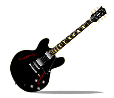 gibson: A black semi-solid type guitar set in a white background Illustration