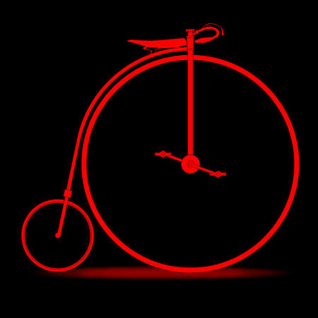 penny: A penny farthing bicycle in red over a black background.