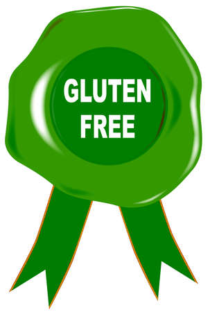 wax stamp: A green wax stamp with the text gluten free Illustration