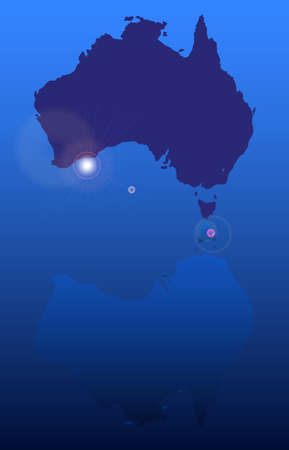 coastline: Silhouette map of Australia with Reflection over blue