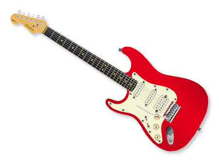 strat: Solid body electric guitar isolated over a white background