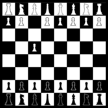 whites: Layout of a chess board in black and white with whites first move Illustration