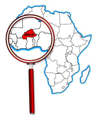 inset: Burkina Faso outline inset into a map of Africa over a white background Illustration