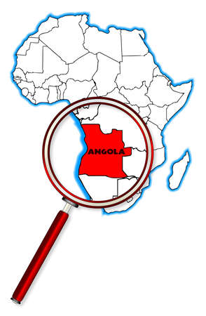 africa outline: Angola outline inset into a map of Africa over a white background