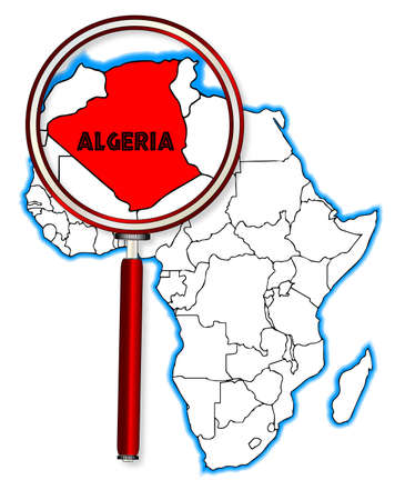 inset: Algeria outline inset into a map of Africa over a white background Illustration