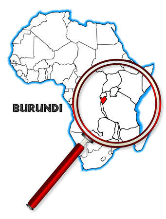 africa outline: Burundi outline inset into a map of Africa over a white background