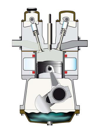 De inductie slag van een dieselmotor - één van een reeks van vier. Vector Illustratie