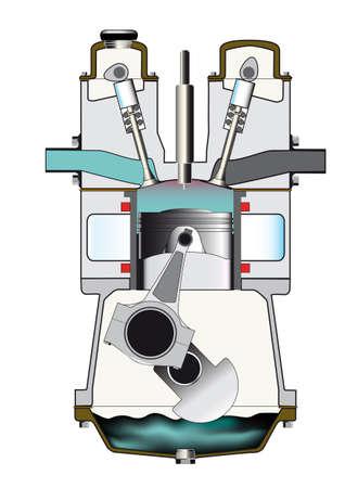 De compressieslag slag van een dieselmotor op wit wordt geïsoleerd. Één van een reeks van vier.