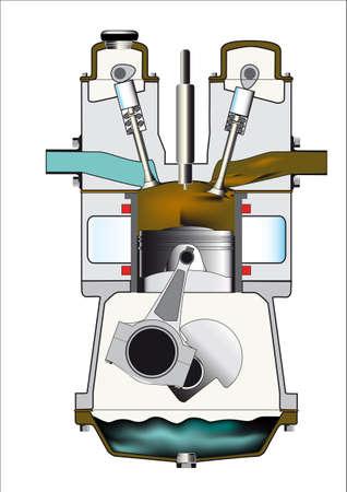 cutaway drawing: Il tratto finale e scarico di un motore diesel. Uno di una serie di quattro.