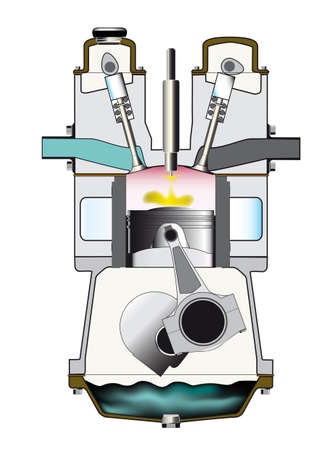 an injector: A diesel engine on its ignition stroke - one of a set of four. Illustration