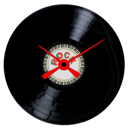 A typical LP vinyl record with the legend ROCK and a circle of piano keys all over a white background with the hands of a clock