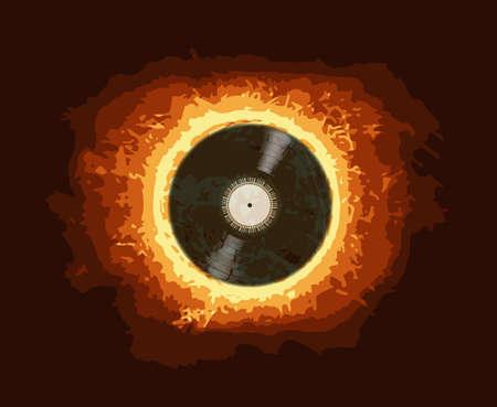 lp: A typical LP vinyl record in front of a blazing hot sun Illustration