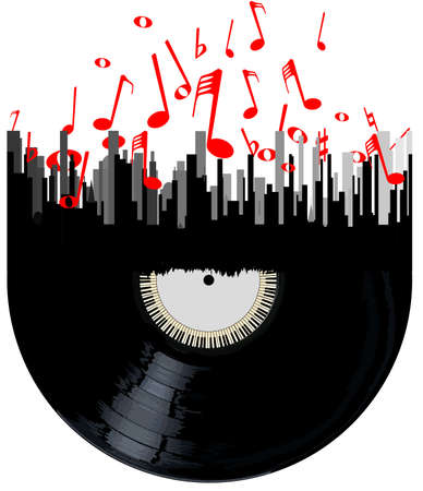 A record below a cityscape with musical notes