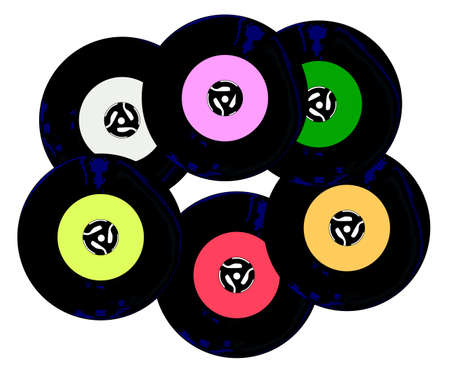 A collection of 45 rpm records with blank labels over a white background. Çizim