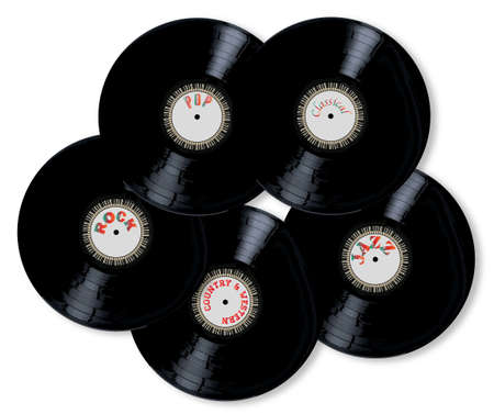 sever: A collection of sever LP vinyl records over a white background