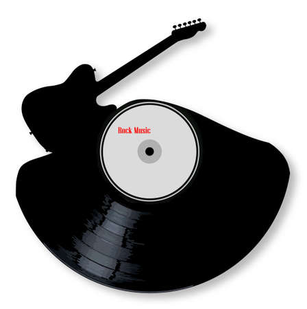 A vinyl LP record with an electric guitar cutout shape