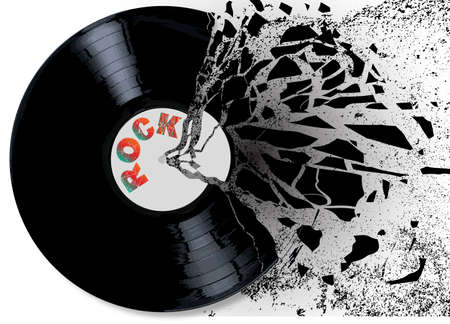rock music: A shatered rock music record over a white background