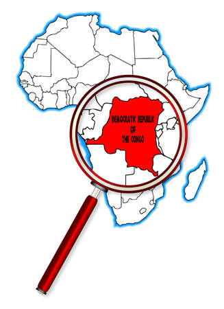 inset: Democratic Republic of the Congo outline inset into a map of Africa over a white background Illustration