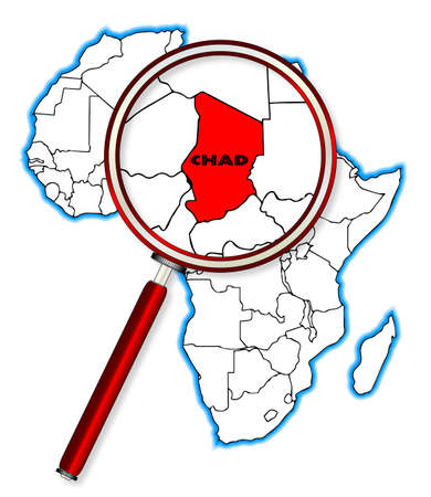 inset: Chad outline inset into a map of Africa over a white background Illustration