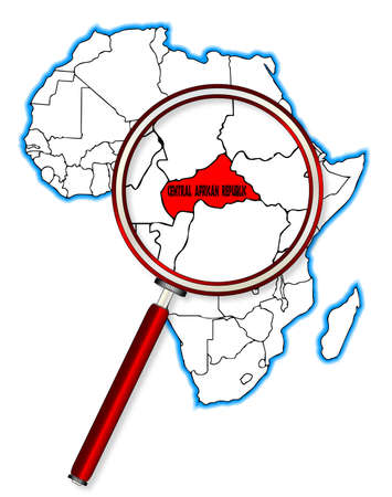 inset: Central African Republic outline inset into a map of Africa over a white background Illustration
