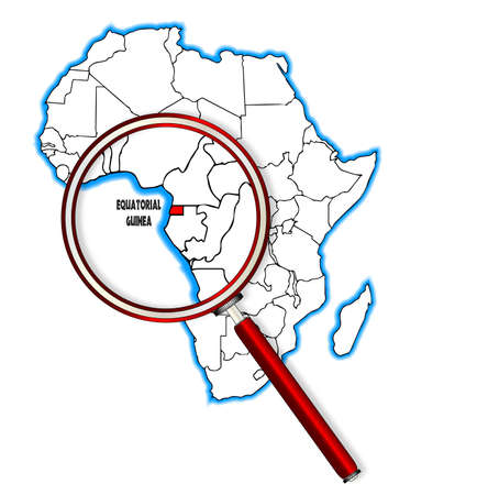 africa outline: Equatorial Guinea outline inset into a map of Africa over a white background Illustration